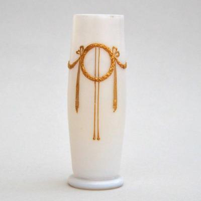 Gilt Enamelled Opaline Glass Vase 19th Century