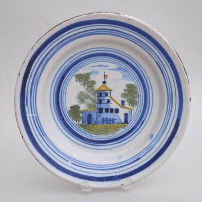 Delft Polychrome Faience Dish With A Tower With A Flag Decoration 18th Century