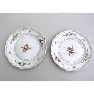 Pair Of  Eastern France Earthenware Plates Decorated With Twigs 18th Century