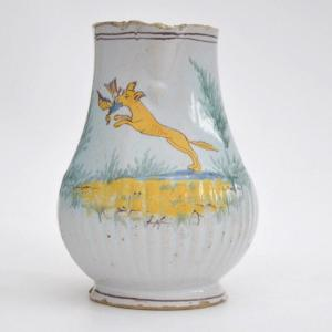 18th Century Faience Pitcher With Polychrome Decoration Representing A Hunting Scene