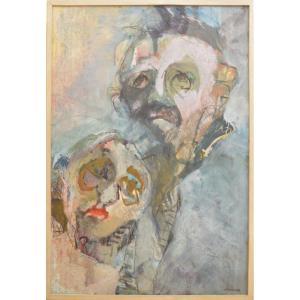 Hélène Bondurand Painting Portrait Of A Couple 129x88 Cm Mixed Media XXth Century
