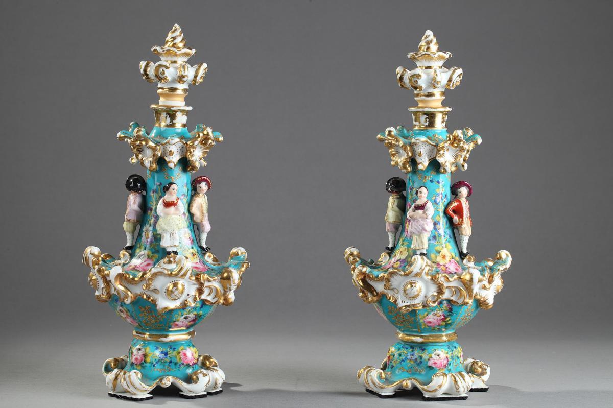 Paire De Flacon En Porcelaine, Jacob Petit/  Pair Of Jacob Petit Porcelain Flask Circa 1830-184