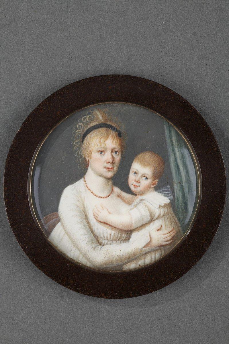 Miniature Femme Et Enfant, époque Empire