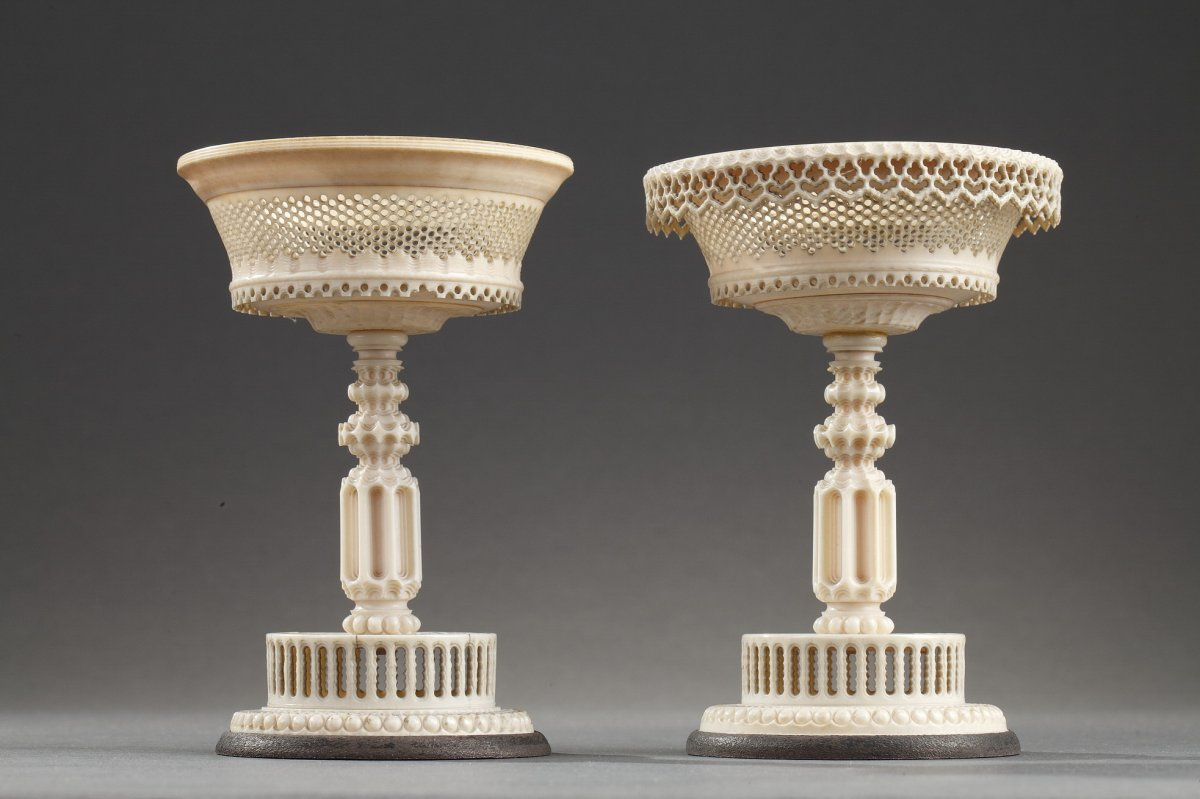 Early 19th Century Turned And Carved Ivory Cups.