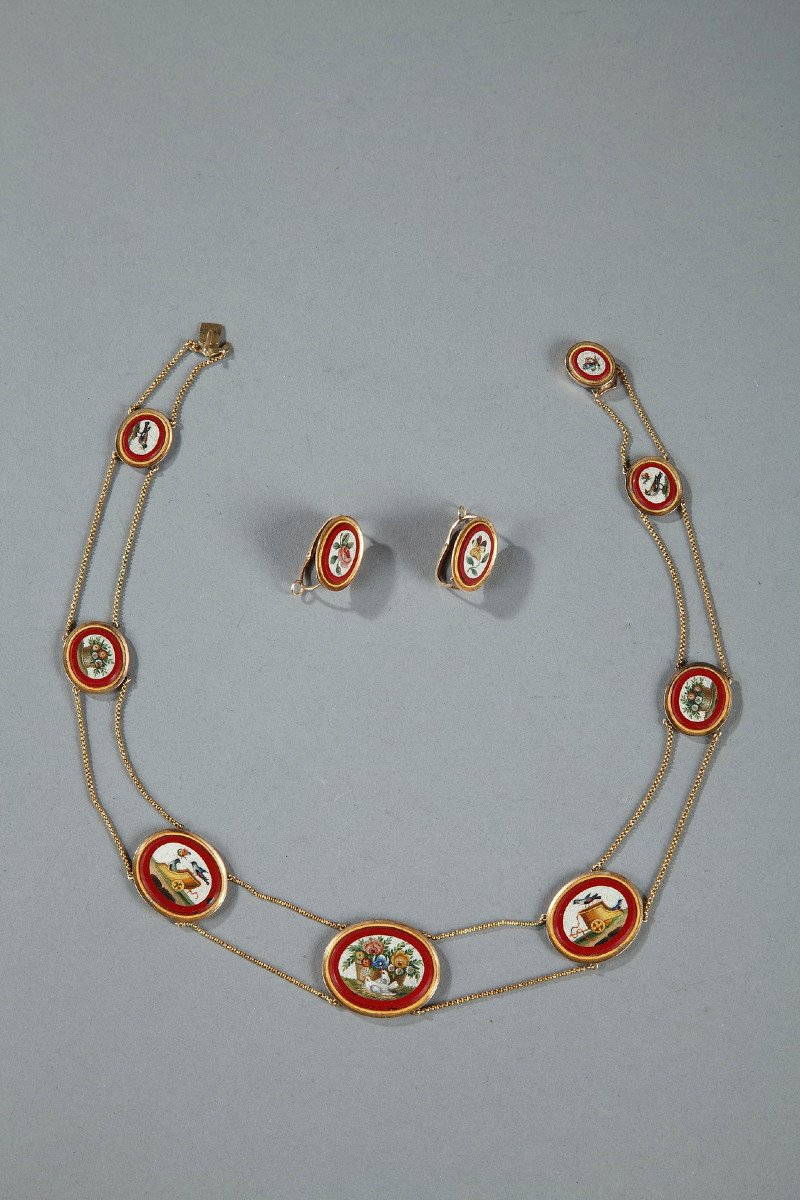 Micromosaic Demi - Parure Set. Early 19th Century