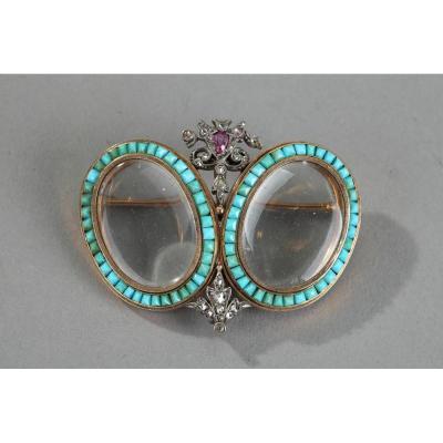 Broche à Deux Cadres En Or, Turquoises, Diamants Et Rubis, XIXe Siècle