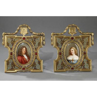 Portraits En Porcelaine Et Cadre En Bronze Et émail. Alphonse Giroux. XIXème Siècle.