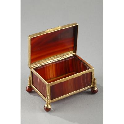 French Restauration Agate Box.