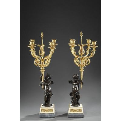 Pair Bronze And Marble Candelabras. Mid-19th Century.