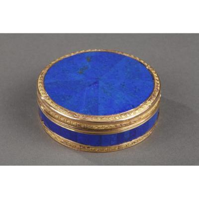 End 18th Century Gold And Panelled Lapis Lazuli Snuff-box. Hanau.