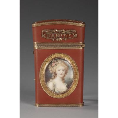 Carnet De Bal En Vernis, Or Et Miniature, Fin XVIIIe Siècle