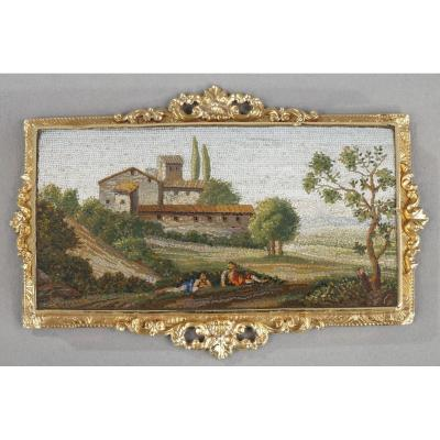 Micromosaic Plate With Arcadian Landscape. Early 19th Century.