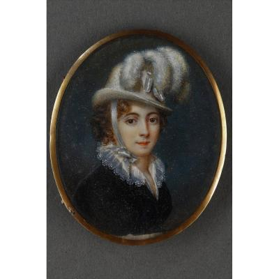 Early 19th Century Ivory Portrait Of The Baroness Davida Schickler.