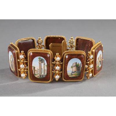 Bracelet Or, Micromosaiques Et Demi-perles. Début Du XIXème Siècle