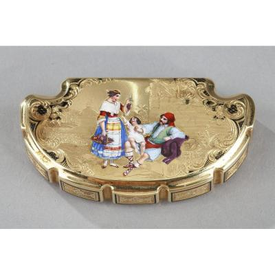 Mid-19th Century Gold And Enamel Box. Dedication Of Anna Pavlovna, Grand-duchess Of Russia.