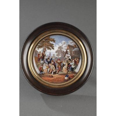 19th Century Enamelled Miniature After D.teniers.
