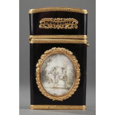 Etui à Tablettes Or, Ivoire Et Vernis Martin. Epoque Louis XVI.