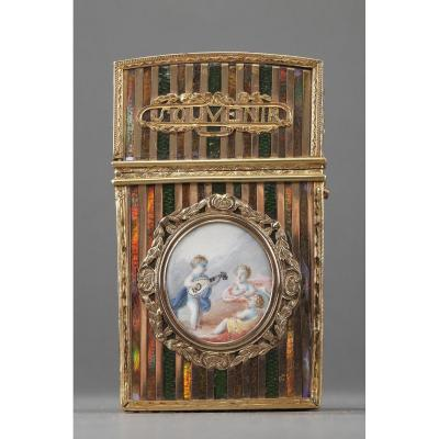 Gold Panel And Vernis Martin Writing Case. French Craftsmanship, Louis XV Period.