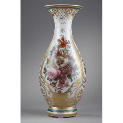 Mid-19th Century Enameled Opaline Crystal Vase.