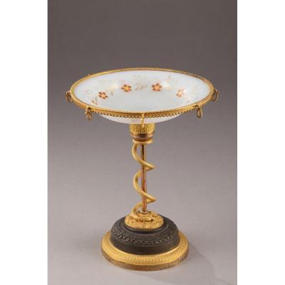 Baguier En Opaline, Bronze Doré Et Patiné Charles X
