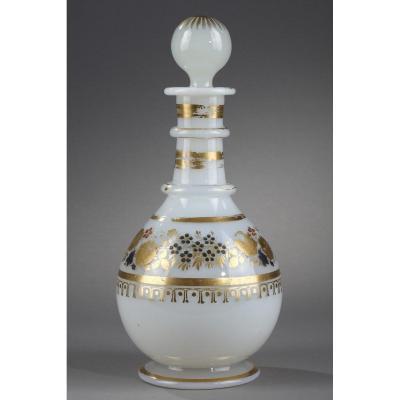 White Opaline Bottle With Desvignes Decoration.