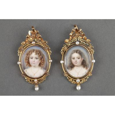 Exceptionnal Pair Of Miniatures On Ivory With Gold Frame; Mid-19th Century;