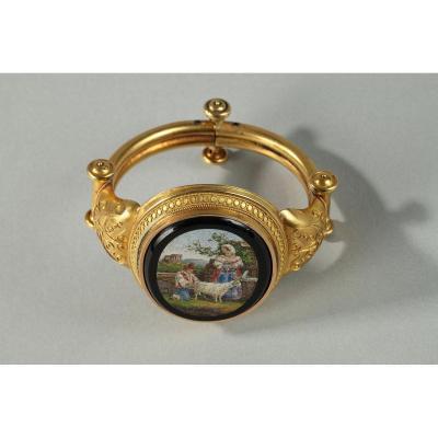 Bracelet En Or Et Micromosaique. Circa 1860-1870