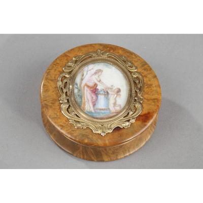 Early 19th Century Wood Gold-mounted Box With Miniature On Ivory.