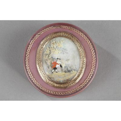 Boite En écaille, Or Et Miniature. Fin Du XVIIIème Siècle.