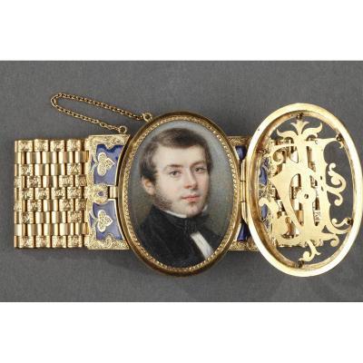 Bracelet Or Et Miniature Signée Bost. Circa 1850.