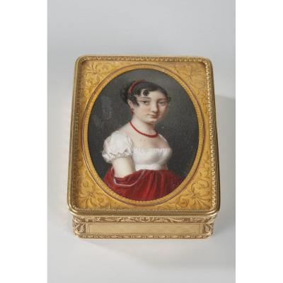 Gold Snuffbox With Portrait Signed Boichard. Circa 1809-1819.