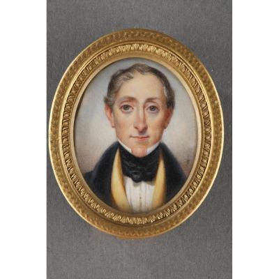 Portrait Présumé De David Schickler. Miniature Sur Ivoire. Début Du XIXème Siècle.