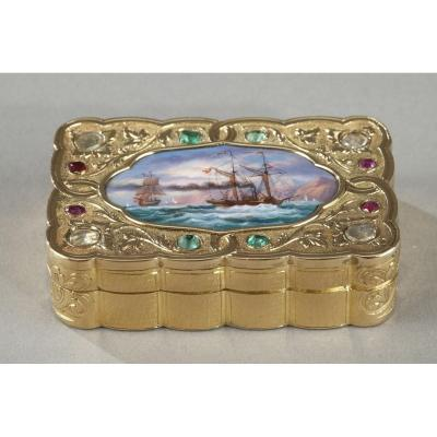 A Swiss Enamelled Gold Snuff-box For The Oriental Market. Circa 1820-1830