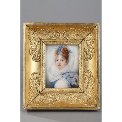Portrait De Femme. Miniature Sur Ivoire Signée Amedée Lemore 1817.