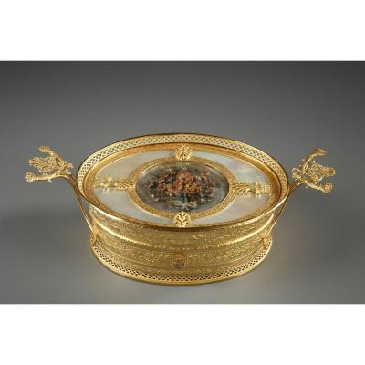 French Charles X Gilt Bronze And Mother-of-pearl Box.
