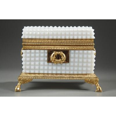 Charles X White Opaline Jewelry Box.