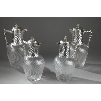 Suite Of 4 Ewers In Silver And Crystal. 19th Century.