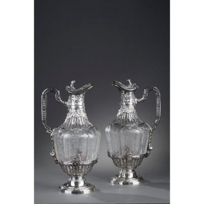 19th Century Silver Pair Of Ewer And Crystal Engraved.