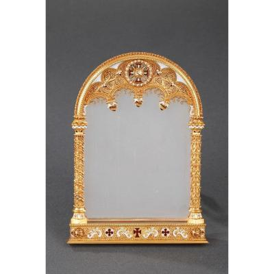 19th Century Neogothic Gold And Enamel Frame.