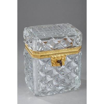 Coffret En Cristal Taillé Et Monture Bronze Doré. Charles X.