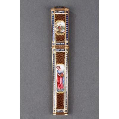 Gold And Enamel Needle Case. Late 18th Century Swiss Work.