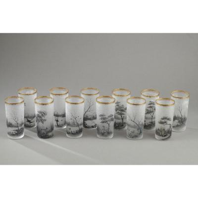 Daum Nancy Set Of 12 Glasses. Circa 1890.