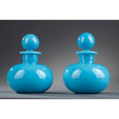Pair Of Blue Opaline Crystal Perfume Bottles. Charles X.