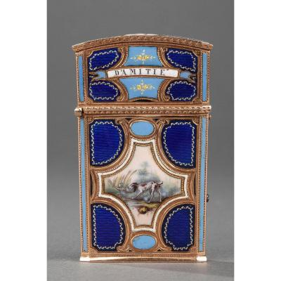 18th Century Gold, Enamel And Ivory Tablet Case Or Dancer Card.