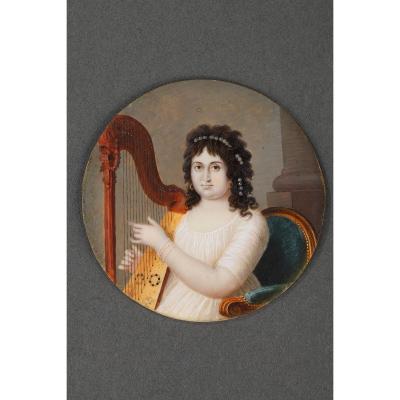 "Miniature On Ivory ""the Harpist"". Circa 1800."