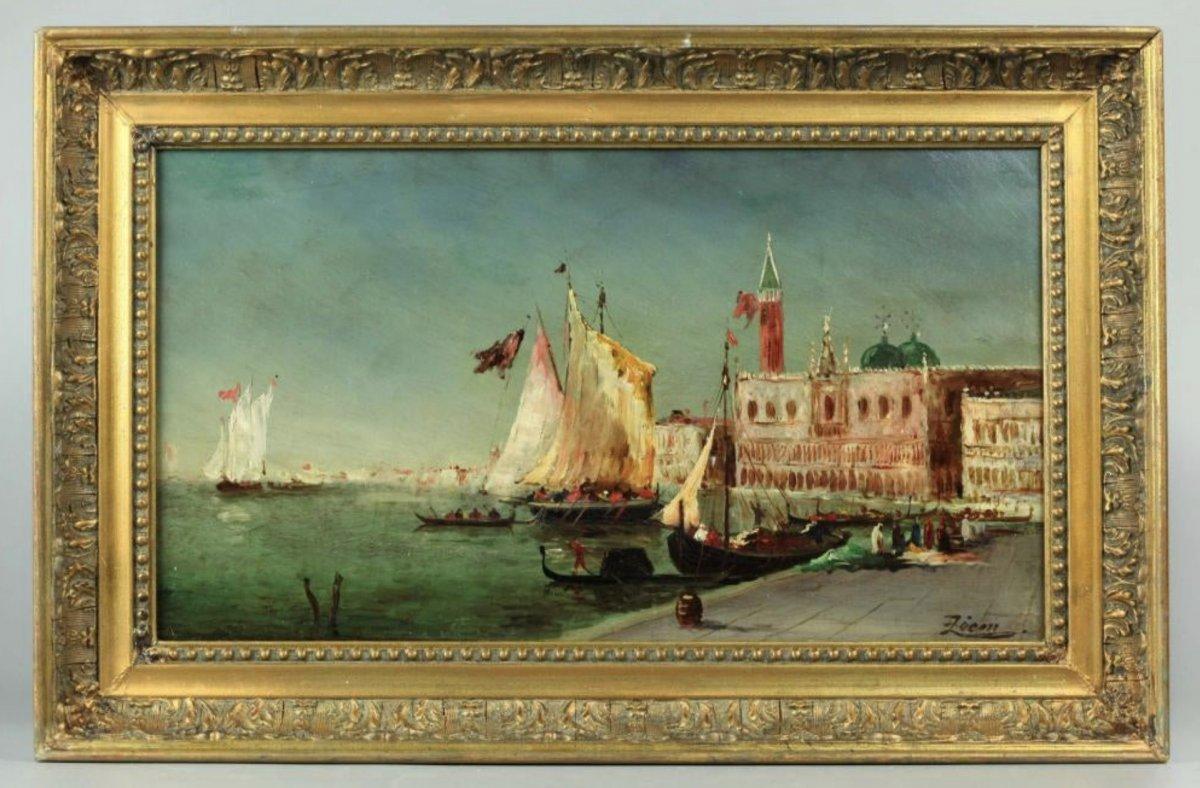 Régate Dans La Lagune, Venise, Signée Ziem, Huile Sur Panneau, 21,5 X 40,5 Cm, Encadrée