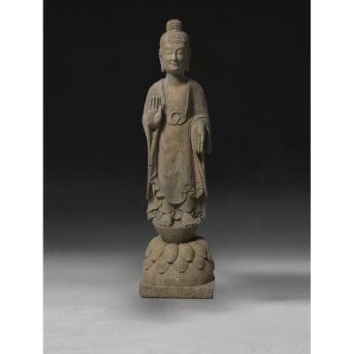 Sculpture De Bouddha En Pierre Art d' Asie Asian Art Buddha Sculpture In Stone