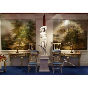 Deux Panneaux Des Paysages Italien Huile Sur Toile