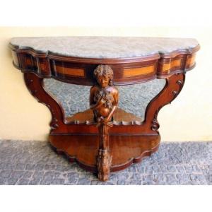 Console En Acajou élégamment Sculptées Sicilienne