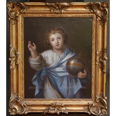 Portrait De Christ Enfant En Salvator Mundi ( Flamand Du XVIIe Siècle )